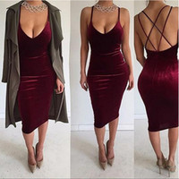 Wholesale Sexy Cut Out Skirts - 2017 NEW Summer Euramerican Low-cut V-Neck Backless Braces Skirt Package Hip Sexy Midi Pleuche Pencil Skirts