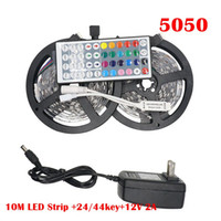 12v led aydınlatma şeritleri toptan satış-RGB LED Şerit Işık 5050 5 M 10 M IP20 LED Işık Rgb Led Bant Led Şerit Esnek Mini IR Denetleyici DC12V Adaptörü Set