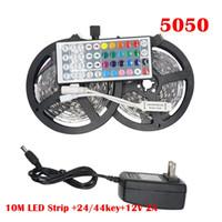 led lighting venda por atacado-RGB LED Light Strip 5050 5 M 10 M IP20 DIODO EMISSOR de Luz Rgb Leds Tape Led Fita Flexível Mini IR Controlador DC12V Adapter Set
