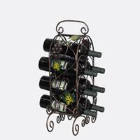 Wholesale Metal Wine Bottle Art - Wine Rack Retro Vines shape Bar Iron Art Wine Shelf Wall Holder Seven bottle Europe Style Creative Leaves vine Design decoration wholesale