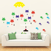 PVC Auto-adesivo Peel e Stick Adesivo de parede removível Mural Decal Game Space Invaders Retro Video Game DIY Decal