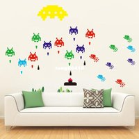 Removable space invaders games - PVC Self adhensive Peel and Stick Removable Wall Sticker Mural Decal Game Space Invaders Retro Video Game DIY Decal