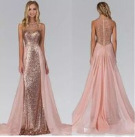 Wholesale Rose Gold Color Beads - 2017 Chic Rose Gold Sequined Bridesmaid Dresses With Overskirt Train Illusion Back Formal Maid Of Honor Wedding Guest Party Evening Gowns