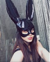 Wholesale funny costume adult women - New Women Girl Party Rabbit Ears Mask Black White Cosplay Costume Cute Funny Halloween Mask