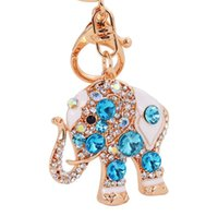 Wholesale trendy wholesale handbags - Bling Bling Crystal Rhinestone Cute Elephant Metal Keychain Keyring Car Keychains Purse Charms Handbag Pendant Best Gift