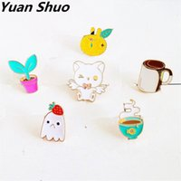 Wholesale Balls Pussy - Japanese cartoon series pussy cat strawberry fruit coffee girl enamel brooch Women clothing drip collar pin badge pin wholesale