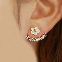 Wholesale Korean Black Pearl Earrings - 2017 Korean Fashion Imitation Pearl Earrings Small Daisy Flowers Hanging After Senior Female Jewelry Wholesale