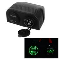Vente en gros - DC 12V - 24V LED Digital Voltmeter + Dual USB Power Socket Panel 2.1A / 1A Chargeur USB pour voiture Bv Rv Motocyclette Vert Bleu Rouge