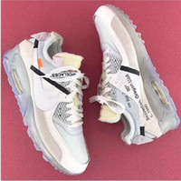 Wholesale Usa Women - 2017 New Arrival Off x Airs 90 Ice 10X AA7293-100 Sports Running Shoes for Women Men Oregon USA Casual Sneakers Size 36-45 Free Shipping
