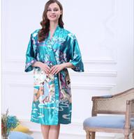 Wholesale Silk Lingerie Kimono - Women Japanese Yukata Kimono Nightgown Print Floral Pattern Satin Silk Vintage Robes Sexy Lingerie Sleepwear Pijama