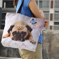 Wholesale Girls Large Shopping Bags - Wholesale- Cute Pug Soft Foldable Tote Women Shopping Bag Casuale Girls Travel Shopping Handbag Large Capacity Grocery Packing Tote Eco Bag