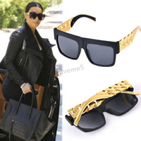 Wholesale Oversized Chain - Wholesale-2015New design Metal Gold Chain Twisted Fashion Sunglasses Female Oversized Big Frame Women Men Vintage Sunglasses #3