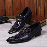 Wholesale Snake Skin Men Shoes - HOT!! Men Snake Metallic Italian Shoes Men Leather Formal Slip-On Oxfords Shoes Skin Famous Designer Business Italian Flat Party Shoes