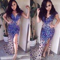 Wholesale Rhinestone Colorful Evening Dresses - 2017 Luxury Colorful Rhinestones Beaded Mermaid Prom Dresses Beaded Cap Sleeves Vestidos De Fiesta Evening Gowns with Sweep Train