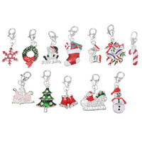 Wholesale Enamel Bell Charms - Wholesale- Wholesale Clip On Charms Fit Chain bracelets Christmas charms Snowman Tree Bell Metal Enamel Charms For Jewelry Making 20PCs