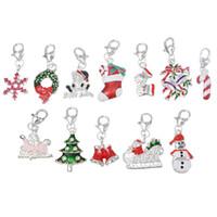 Wholesale Enamel Christmas Tree - Wholesale- Wholesale Clip On Charms Fit Chain bracelets Christmas charms Snowman Tree Bell Metal Enamel Charms For Jewelry Making 20PCs
