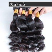 Wholesale Karida Hair Wholesale - Wholesale-4bundles full and thick brazilian virgin hair loose wave,6A grade 100% human hair weaves,Karida hair,DHL  fedex free shipping.