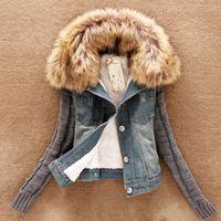 Wholesale Denim Yarn - Wholesale- New Women 2016 Spring Autumn Short Denim Jacket Women Slim Yarn Large Fur Collar Lamb Cotton Denim Outerwear Jeans B115