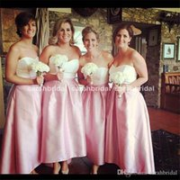 Wholesale Hilo Prom Dresses - 2017 special occasion Hilo High Low Bridesmaid Dress 12y short prom Sweetheart Zipper Top and Pink Satin Skirt Cheap Hot Bridal Party Gowns