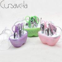 Wholesale Small Mirrored Boxes - Wholesale- Cursavela Apple Nail Tool Set Beauty Art Manicure Kit Small Makeup Plastic Box With 9pcs Set Clipper Mirror Scissor Steel EC0114