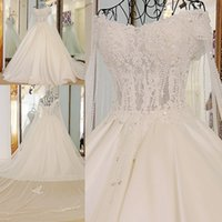 Wholesale Sheer Wedding Shawl - Real Photo A-Line Boat Neck Lace Up Court Train Wedding Dress 2017 With Beaded Appliques Cape Shawl Crystal Mariage Pregnant Wedding Gowns