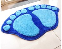Wholesale Door Mat Cute - Wholesale- Free Shipping Cute Velvet Big Footprints Bedroom Door Mats On Foot Pad Rug Bathroom Toilet Mat