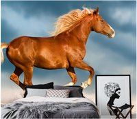 Wholesale decorated 3d wallpaper for sale - Group buy 3d room wallpaper custom photo Dream the white horse background wall decorate painting d wall murals wallpaper for walls d