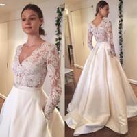 Wholesale Tassels Dress Cheap - 2017 New Vintage Cheap Wedding Dresses Long Sleeve Lace Applique A Line Bridal Gowns Plus Size Satin Wedding Dress