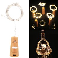 Wholesale White Wine Bottles - Wine Bottle Cork Fairy Lights Bottle Stopper LED String 1M 2M Silver Wire String Lights Battery Powered Christmas Wedding Decor