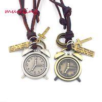 Wholesale Hip Hop Clocks - Hip Hop Jewelry Leather Necklace Pendants Alarm Clock Accessories Metal Pendulum Amulet Women Mens Jewelry Decorations Gifts