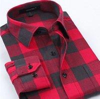algodón cepillado para hombres al por mayor-Camisas a cuadros de primavera de los hombres ocasionales de manga larga Slim Fit Comfort Camisa de algodón de franela suave y cepillado Estilos de ocio Ropa de hombre