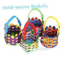 Wholesale Painted Basket - Wholesale- NEW 1pcs 3D Stereoscopic Paste Painting Hand-woven Baskets FOR Children Nursery DIY Creative Craft Art