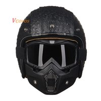 Wholesale leather motorcycle helmet xl - 2016 GXT Vintage Motorcycle Helmets Vespa Open Face Retro Leather Scooter Helmet Professional Halley Moto Helmet Casco Casque
