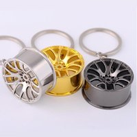 Wholesale Rims Keychain - Wheel Rim Model Keychain Sleutelhanger Round 14K Gold Plated Trendy Keyrings Carabiner Car Keychain Alloy