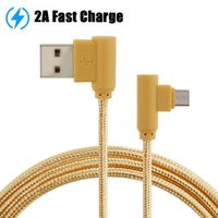 Wholesale Copper Elbow - USB cable braided elbow micro usb cable Tin-plated copper 2A fast charging usb cables 4000+ bend lifespan for smartphone 1m 3ft