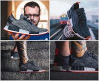 Wholesale Tri Color Mens Leather Shoes - 2017 Overkill X NMD R1 PK Firestarter Women Mens Tri-Color Running Shoes Grey Black Trainer Sneaker Shoes Sport Size 36-45