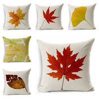 Wholesale maple cover - Deciduous Pillowcase Creative Fall Pillow Cushion Cover For Cotton Linen Red Maple Leaves Pillowslip Many Styles 6 8xa C R