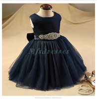 royal blue flower girl dress diamonds achat en gros de-Cute Diamond Belt Robes de marguerite bleu marine pour mariage Robe de bal Robe de soirée courte