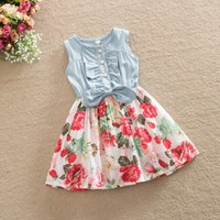 Wholesale Gown For Korean Princess - korean girl summer dress children denim floral print princess dress kids chiffon tutu dress for 2-10T