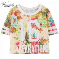 Wholesale Cartoon Ts - Wholesale- 2016 summer style harajuku cartoon unicorn floral letters kawaii graphic print Tee short t shirt women bustier crop tops TS-080