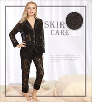 Wholesale See Through Nightgown Woman - Sexy lingerie pyjamas women sleepwear female lace nightgowns 2pieces long sleeve pajama sets pajamas woman see-through Suit Collar SJYT79
