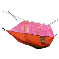 Wholesale Hammock Mesh - Wholesale- AOTU 260*140cm Double Hammock with Mosquito Mesh Garden Parachute Cloth Permeability Camping Leisure Hammocks