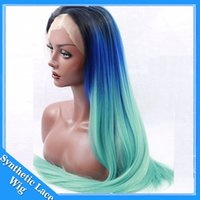 Wholesale Three Tone Lace Front Wigs - black blue green three tone ombre wig synthetic lace front wig silky straight turquoise ombre lace front wig Heat Resistant Synthetic Hair