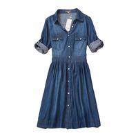 Wholesale Slimming Elegant Clothes - high quality 2017 denim dress summer autumn clothing plus size women Jeans dress elegant slim cowboy casual Dresses vestidos