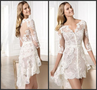 Wholesale Mini Lace Tiered Short Skirts - High Low Bridal Dresses 1 2 Long Sleeves V Neckline Lace Appliques Formal Gowns Tiered Skirts Iullsion Bodice Sexy Homecoming Cheap