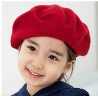 boina roja de las niñas al por mayor-Gorros de los niños Sombreros Moda Sombrero Fábrica Estilo Coreano Preppy Vellón Niños Niñas Beret Sombreros Otoño Invierno Bebé Niños Gorras Rojo Boinas