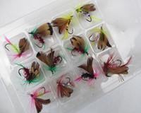 böcek kancaları toptan satış-Sıcak Satış 12 adet / grup Fly Balıkçılık Cazibesi Set Tarzı Böcek Yapay Balıkçılık Bait Tüy Tek paslanmaz çelik Hooks Sazan araçları
