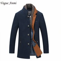 Wholesale Trench Coat Scarf - Wholesale- Vogue Anmi.Man trench coat wool coat Winter peacoat Men's wool Coat mens overcoat men's coats male clothing With Scarf ,M-3XL