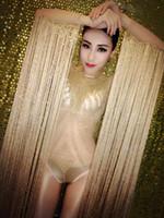 bailarina leotardo borla al por mayor-Sexy brillo lentejuelas de oro borla mangas mono cristales traje de mujer cantante etapa de baile brillante leotardo traje de fiesta vestido