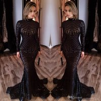 Reference Images bling t shirt - 2017 Michael Costello Long Sleeves Evening Dresses Bling Bling Black Sequins High Neck Mermaid Sexy Celebrity Gowns Pageant Prom Dresses
